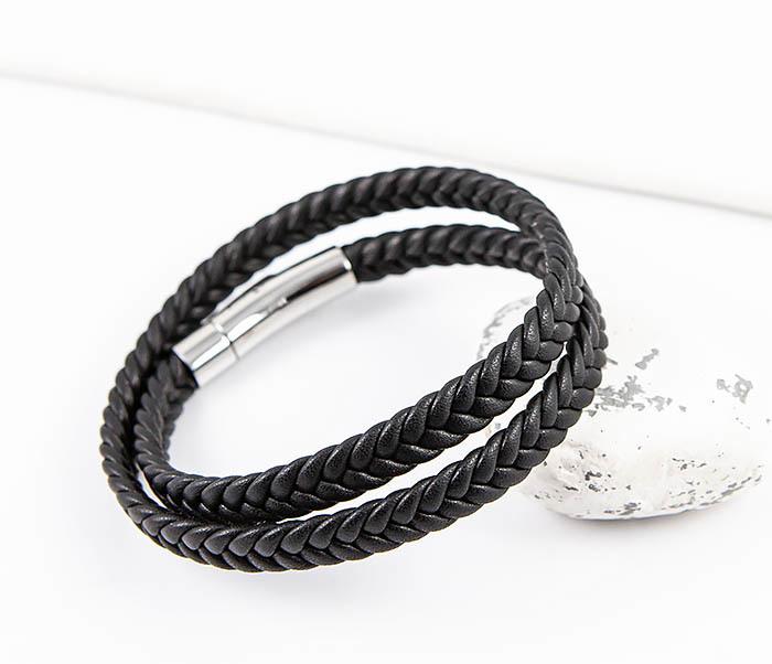 BM566-1 Двойной браслет шнур из кожи черного цвета