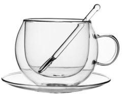 Чашка-кружка с двойными стенками с блюдцем и стеклянной ложкой 250 мл
