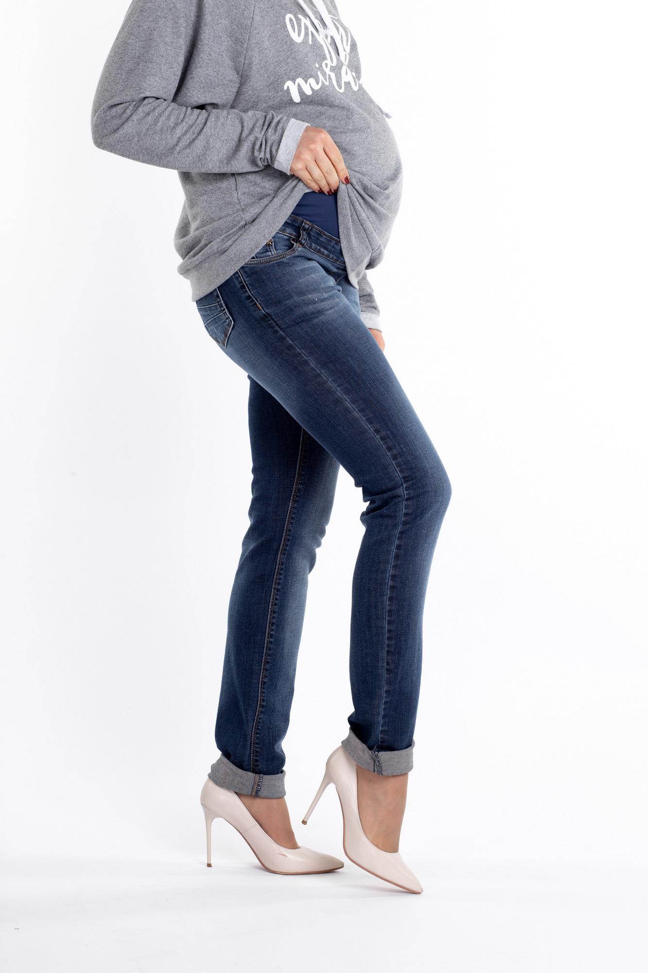 Фото джинсы для беременных MAMA`S FANTASY, зауженные, широкий бандаж от магазина СкороМама, синий, размеры.