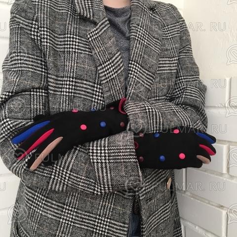 Женские перчатки с цветными пуговицами Черные