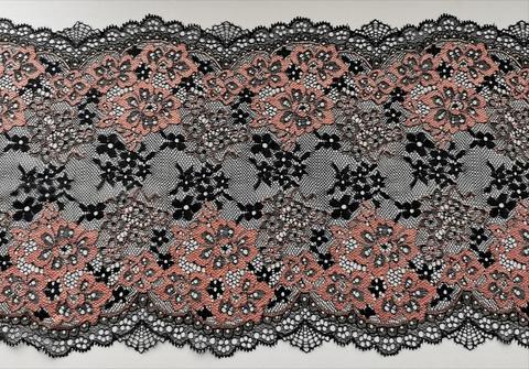 Эластичное кружево, 22 см, черное и золотисто-коричневый, (Арт: EK-1069), м