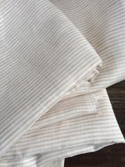 Лен 100% сорочечный, бежевая полоска, поперечная