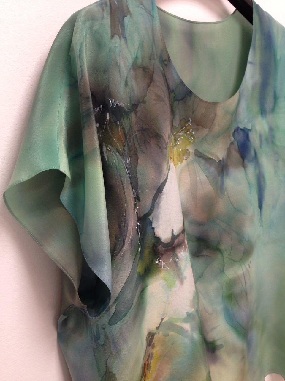 Шелковая блузка батик Акварельный Прованс П-182