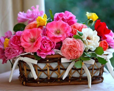 Алмазная Мозаика 5D 40x50 Корзина розовых цветов