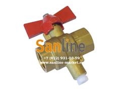 Кран шаровый Sanline ДУ15 с гнездом для термодатчика