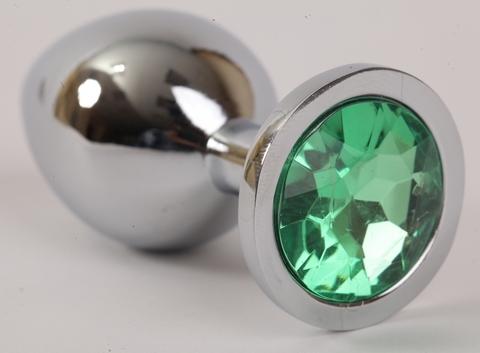 Анальная пробка серебрянная с зеленым кристаллом 3,4х8,2 47046-1-MM
