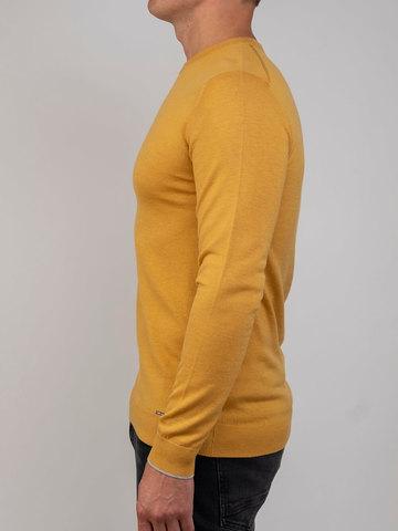 Мужской джемпер желтого цвета из шерсти и шелка - фото 3