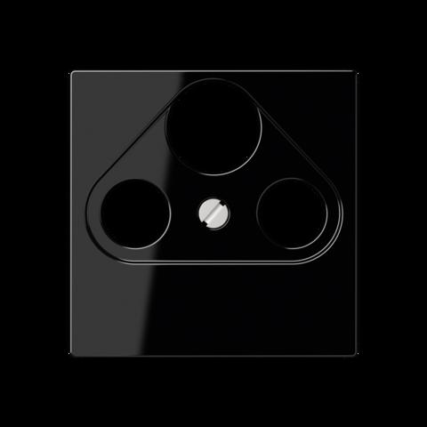Розетка TV SAT FM универсальная, проходная, диапазон частот от 4 до 2400 MГц. Цвет Чёрный. JUNG A. S4110+A561PLSATSW