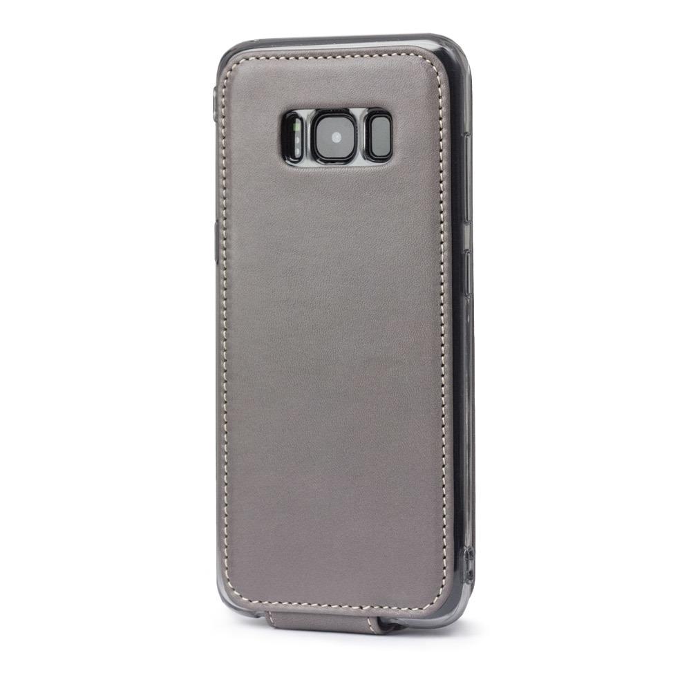 Чехол для Samsung Galaxy S8 Plus из натуральной кожи теленка, серого цвета