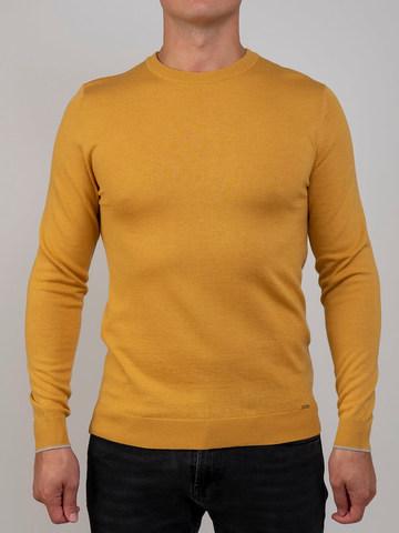 Мужской джемпер желтого цвета из шерсти и шелка - фото 2