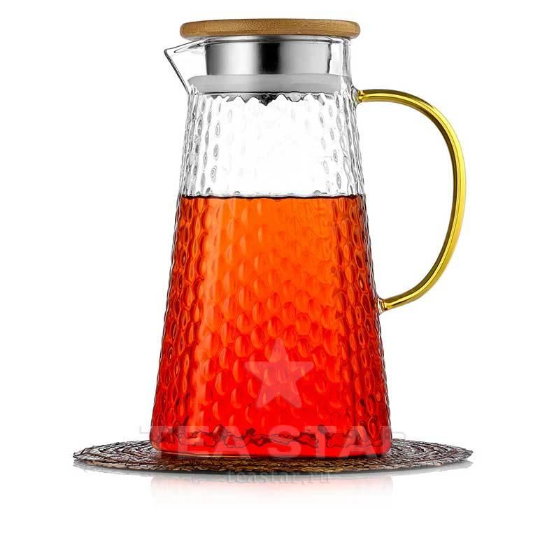 Кувшины, графины (для горячих и холодных напитков) Кувшин 1,5 литра для горячих и холодных напитков из жаростойкого стекла Kuvshin-dlia-soka-i-kokteiley-4-006-1500-teastar.jpg