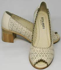 Модные женские туфли босоножки закрытые с открытым носком Sturdy Shoes 87-43 24 Lighte Beige.