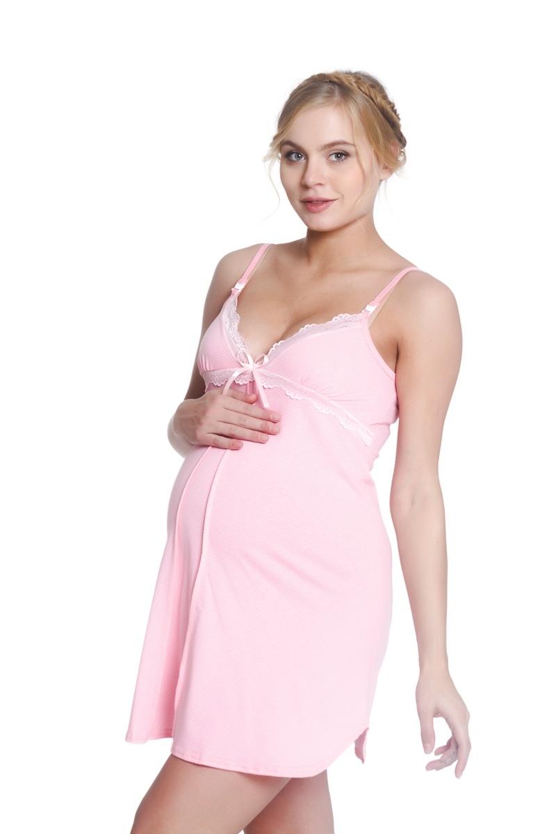 Ночная сорочка для беременных и кормящих 09616 розовый