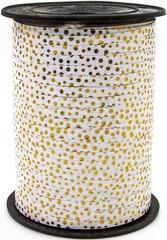 Лента (0,5 см*250 м) Золотые точки, Белый, Металлик, 1 шт.