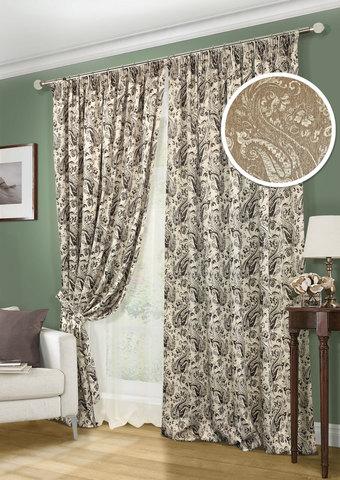 Комплект штор и тюль Paisley коричневый