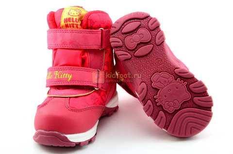 Зимние сапоги Хелло Китти (Hello Kitty) на липучках с мембраной для девочек, цвет красный. Изображение 10 из 14.