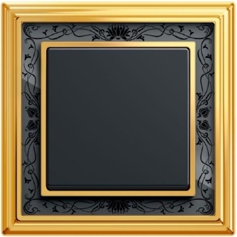 Выключатель одноклавишный. Цвет Антрацит. ABB (АББ). Dynasty/Solo/Future/Axcen/Carat/Pure. 1012-0-2131+1751-0-3079