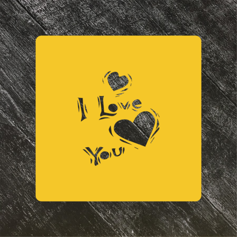 Трафарет любовь №33 I love you и сердца