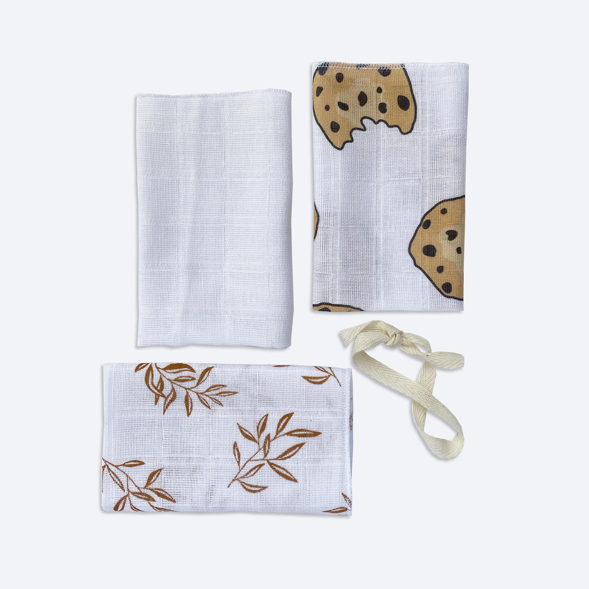 Сет из 3х муслиновых салфеток Mjölk Печенье/Белый/Листья