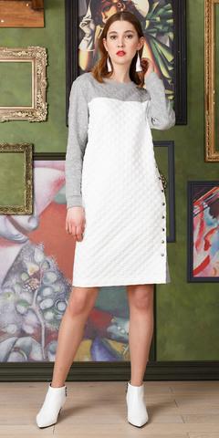 Фото фактурное трикотажное двухцветное платье с боковым швом на пуговицы - Платье З322-268 (1)