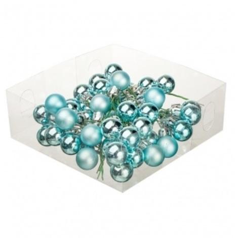 Набор шаров елочных на проволоке 48шт. (пластик), D2см, цвет: голубой