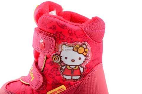 Зимние сапоги Хелло Китти (Hello Kitty) на липучках с мембраной для девочек, цвет красный. Изображение 13 из 14.