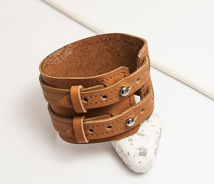 Boroda Design, Широкий браслет ручной работы из натуральной кожи. «Boroda Design»
