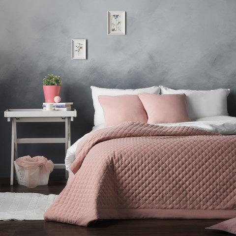 Комплект штор и покрывало Грета розовый