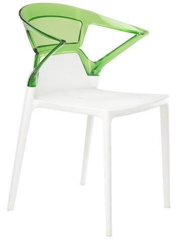 Полукресло Ego-K (Papatya). Цвет базы - белый, спинка прозрачная зеленая