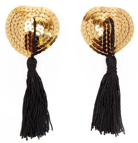 Золотистые пэстисы-сердечки с черными кисточками