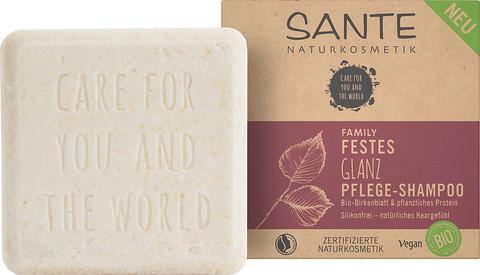 SANTE FAMILY Питательный шампунь (твердый) для блеска волос с био-берёзой и растительными протеинами, 60 гр