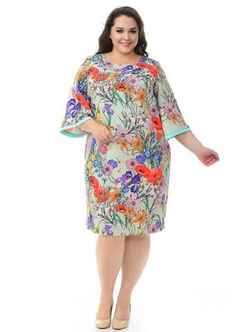 Платье базовое с широкими рукавами, мятный фон