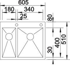 Мойка Blanco Zerox 340/180-IF/A схема