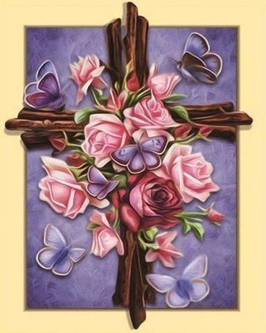 Алмазная Мозаика 5D 40x50 Крест с розами и бабочками