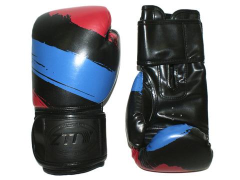 Перчатки боксёрские 14 oz: ZTTY-3G-14-Ч Цвет - чёрный с синими и красными вставками.