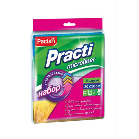 Салфетки хозяйственные Paclan Practi микрофибра 30x30 см 4 штуки в упаковке