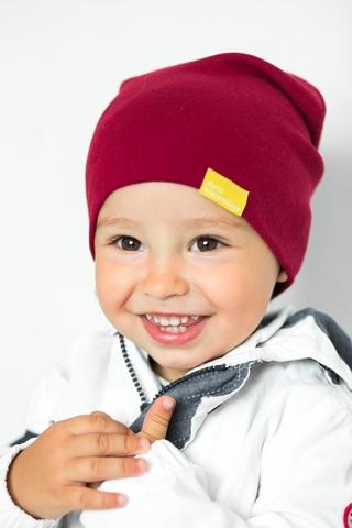 Детская шапка хлопковая гладкая винно-бордовая