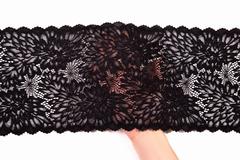Кружево эластичное черное 18,5 см