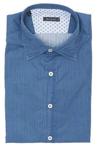 Синяя рубашка в тёмно-синюю полоску