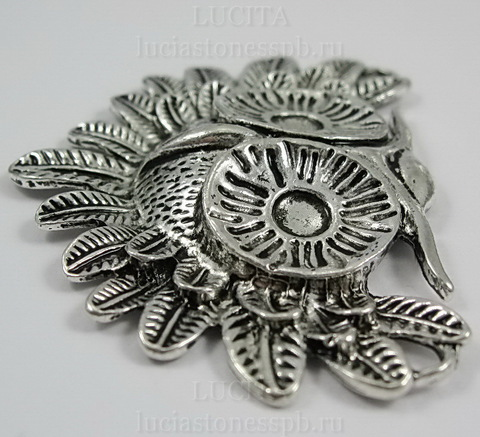 """Коннектор (1-1) """"Сова"""" 56х41 мм (цвет - античное серебро) ()"""