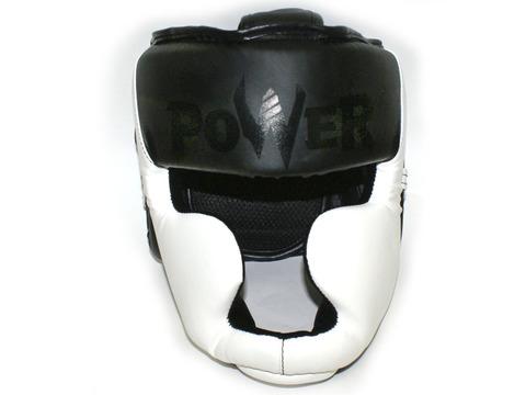 Шлем боксёрский закрытый, индивидуальная упаковка. Материал: кожзаменитель. Усиленная защита области ушей, сзади застежка на липучке. Цвета: белый с чёрными вставками, размер М. HT-М-Б