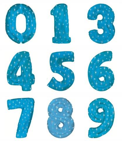Цифра фольга голубая 102 см
