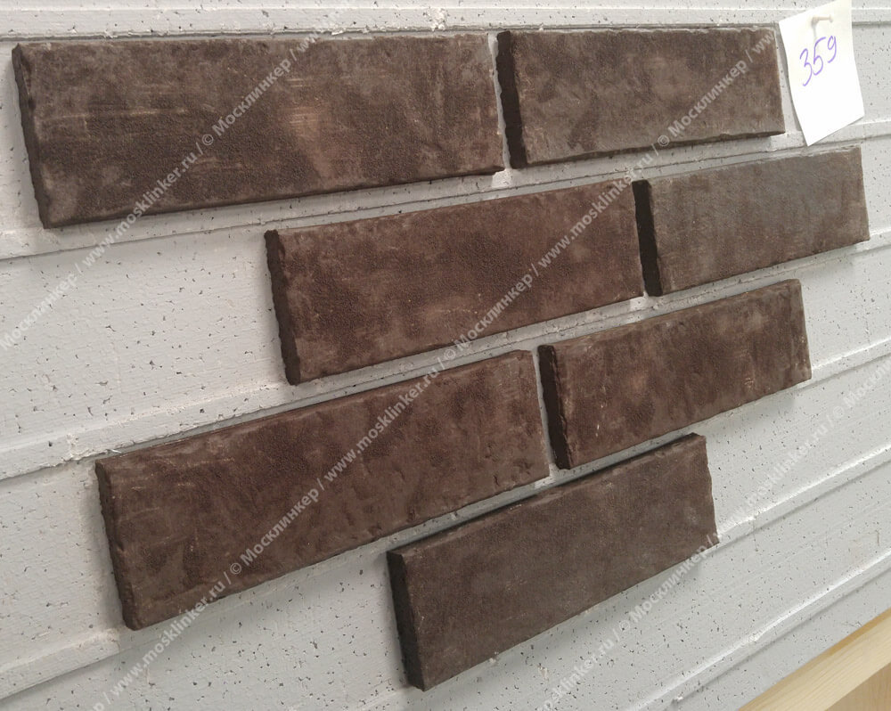 Stroeher - 359 kohlenglanz, Zeitlos, состаренная поверхность, ручная формовка, 400x35x14 - Клинкерная плитка для фасада и внутренней отделки