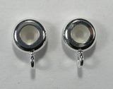 Бусина-бейл рондель металлическая с силиконом, 8,5x3,5 мм, посеребренная, 1 шт.