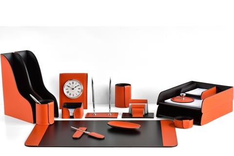 Настольный канцелярский набор 16 предметов из кожи цвет оранж/шоколад