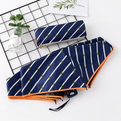 Японский плоский маленький зонт фирмы Yoco с защитой от солнца (белые диагональные полоски на синем)