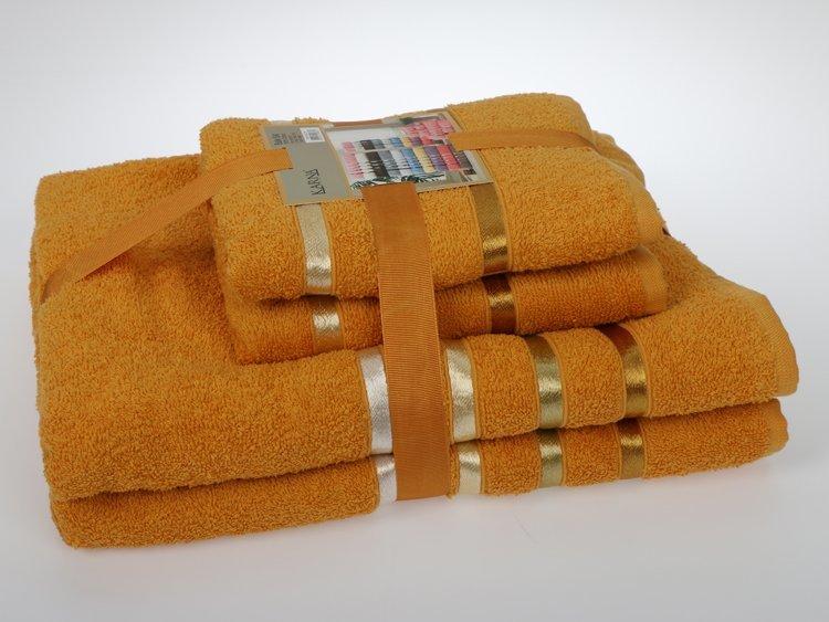 Комплект махровых полотенец КАРНА, темно - желтый