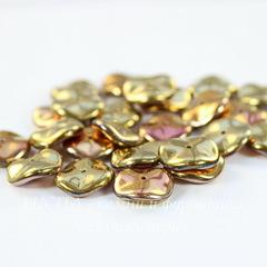 Бусина Ripple Волнистый диск, 12 мм, золотая с розовым