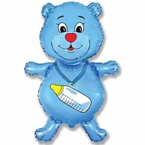Фольгированный шар Мишка с соской голубой