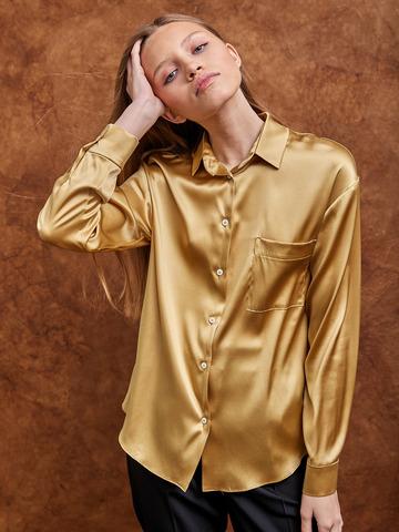 Блуза с карманом из шелка беж